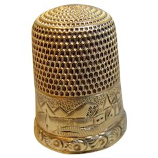 Antique 14K Gold Etched Thimble