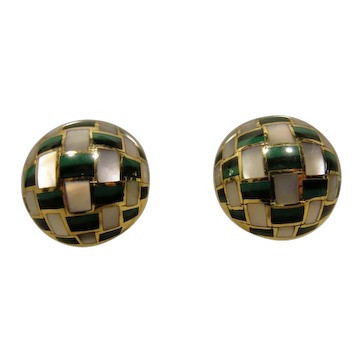 18K Tiffany Co Angela Cummings Inlaid Earrings MOP Malachite