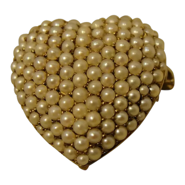 14K Small Edwardian Art Nouveau Pearl Puff Heart Pendant Pin 1903