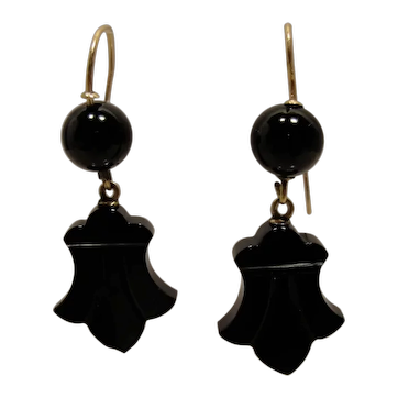 14K Victorian Onyx Earrings
