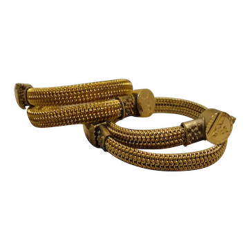 Victorian Antique Pair Woven Gold-Filled Wrap Bracelets