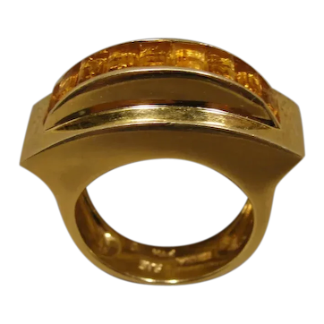 14K Modernist Sculptural Citrine Vintage Ring