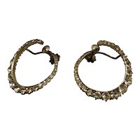 Sterling Silver Antique French Paste Hoop Earrings