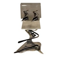 Modernist Ed Wiener Sterling Dancer Pin & Rare Earrings 1948
