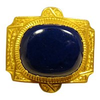 Spectacular 18K Large Lapis Lazuli Victorian Pin Signed