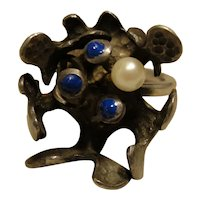 Sterling Modernist Brutalist Sodalite Ring Signed