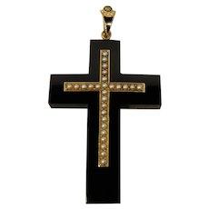 14K Victorian Enamel Onyx Pearl Cross Pendant Necklace