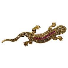 14K 15CT Victorian Pearl Lizard Reptile Pin Brooch