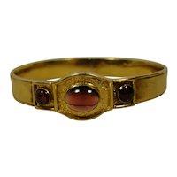 14K Victorian Carbuncle Garnet Bangle Bracelet