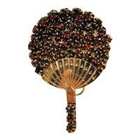 Victorian Bohemian Garnet Fan Pin