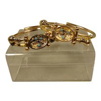 Victorian Gold Filled Turquoise Bangle Bracelets Pair