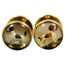 14K Vintage Sulka Reverse Crystal Dog Cufflinks Terrier Spaniel