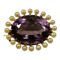 14K Art Nouveau Amethyst Pearl Pin Pendant