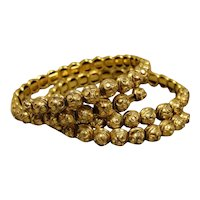 Unusual Victorian Gold-Filled Etruscan Coil Pair Bracelets