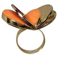 14K Large Art Modernist Handmade Coral Ring  over the top