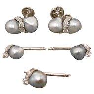 14K Vintage  WG Custom Baroque Pearl Diamond Cufflinks & 3 Studs Set
