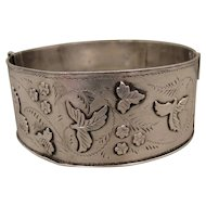 Victorian English Sterling Bangle Bracelet 1886