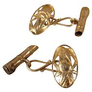 18k Victorian Antique Bamboo 18K Cufflinks  Aesthetic movement