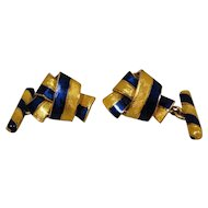 18K Blue Yellow Enamel Knot Vintage Cufflinks Exceptional