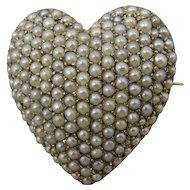 14K Edwardian Art Nouveau Pearl Puff Heart Pendant Pin
