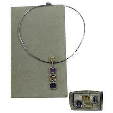 Sterling Modernist Amethyst Citrine Bracelet Torque Necklace Israel