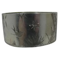 Sterling Victorian Aesthetic Movement Etched Bangle Bracelet