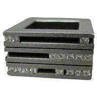 Modernist Art Jewelry Stainless Steel Diamond Yael Herman Israel Ring 2005
