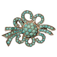 Victorian Silver Persian Turquoise Antique Pin Brooch