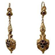 14K Victorian Style Garnet Dangling Earrings
