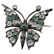 Antique Victorian Silver Paste Butterfly Pin