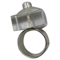 Modernist English Sterling Lucite Ring