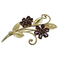 14K Retro Garnet Wordley Allsopp & Bliss Flower Pin Brooch