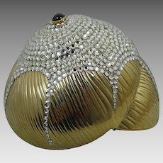 Judith Leiber Snail Shell Swarovski Crystal Minaudiere Clutch Purse