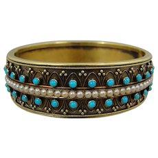 14K Victorian Etruscan Revival Turquoise Pearl Bangle Bracelet