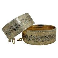 14K Victorian Enamel Pair Bangle Bracelets TWO