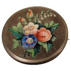 Lovely Victorian Sterling Enamel Flower Pin