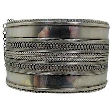 Victorian Sterling Wide Bangle Bracelet 1880