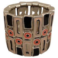 Modernist Aluminum Enamel Bracelet Wide - Red Tag Sale Item