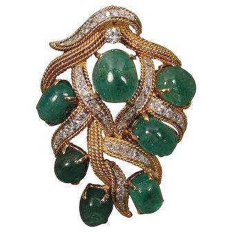 18K Vintage Diamond Emerald Pin Brooch