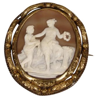 Antique Victorian Gold-Filled Shell Cameo Pin 1840 Revolving
