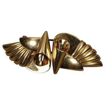 Retro 14K Double Dress Clips Brooch Pin Larter Co