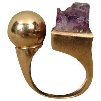 9K Modernist England Geode Amethyst Sculptural Ring Signed