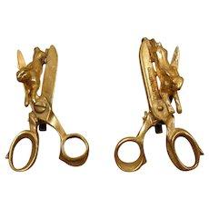 Dada Surreal Hare Cut Clip Vintage Earrings