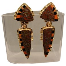 18K Jeff Susan Wise Inlaid Jasper Coral Onyx  Earrings Pins Handmade