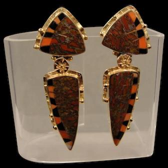 18K Jeff Susan Wise Inlaid Jasper Coral Onyx  Earrings Pins Handmade