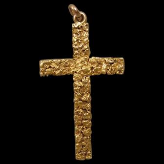 Victorian Antique Mining Gold Nugget Rush Cross 14K 22K Pendant