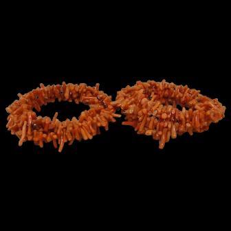 Two Vintage Natural Coral Branch Wrap Bracelets