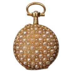 18K Antique Pearl Watch Case Pendant Locket