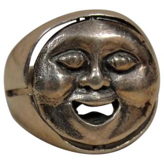 Vintage Sterling Man in the Moon Ring Twirls