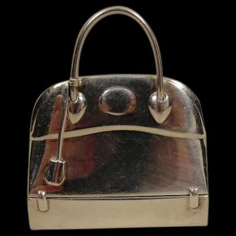 Vintage Hermes Sterling Silver Borido Purse Pill Box Pendant Paris London